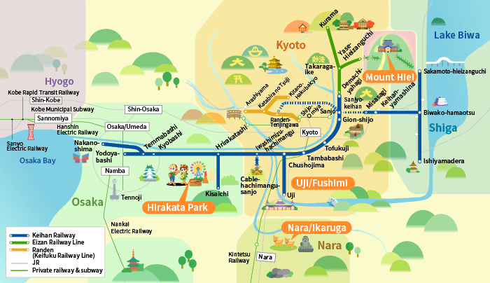 Subway Map Kyoto.Recommended Tickets Keihan Electric Railway