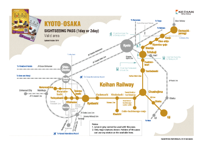 KYOTO-OSAKA SIGHTSEEING PASS (1-day or 2-day) Valid area